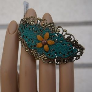 Gold and Turquoise Flower metal cuff